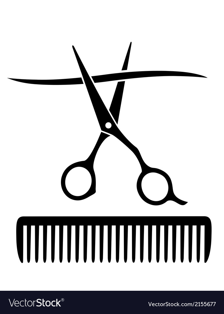 Comb and scissors cutting strand of hair vector | Price: 1 Credit (USD $1)