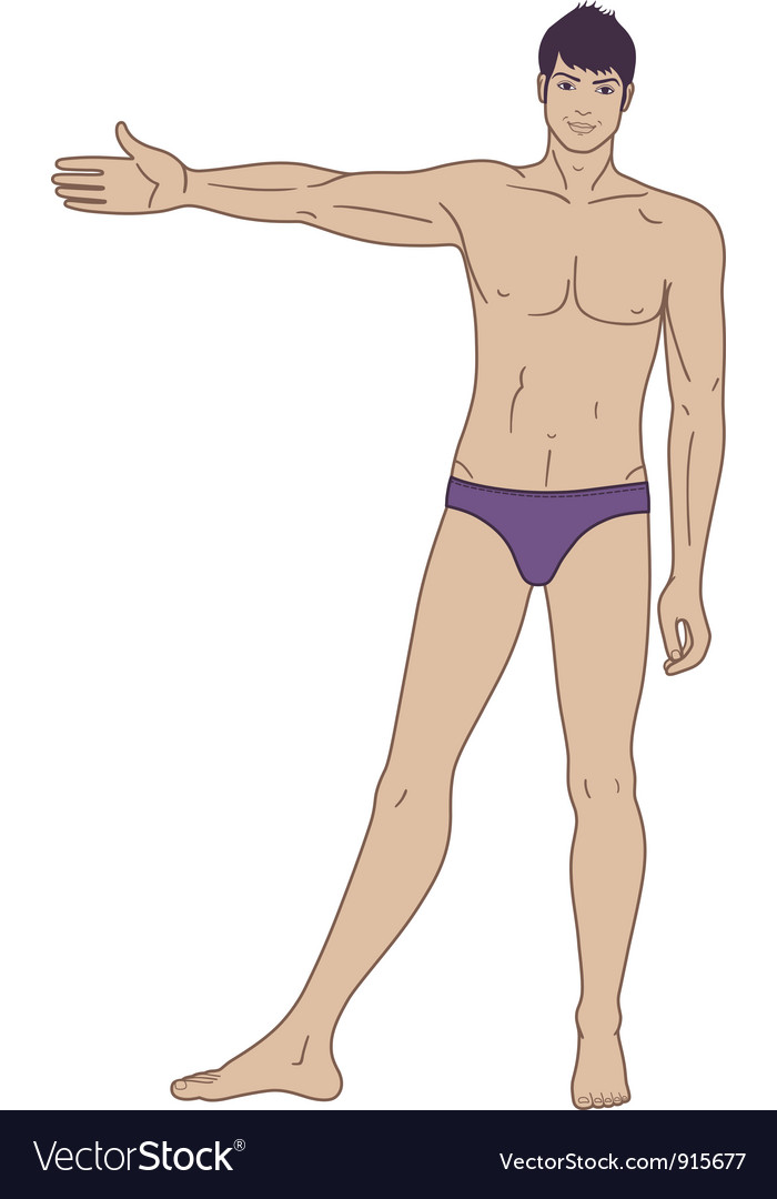 Full length front view of a standing naked man vector | Price: 3 Credit (USD $3)