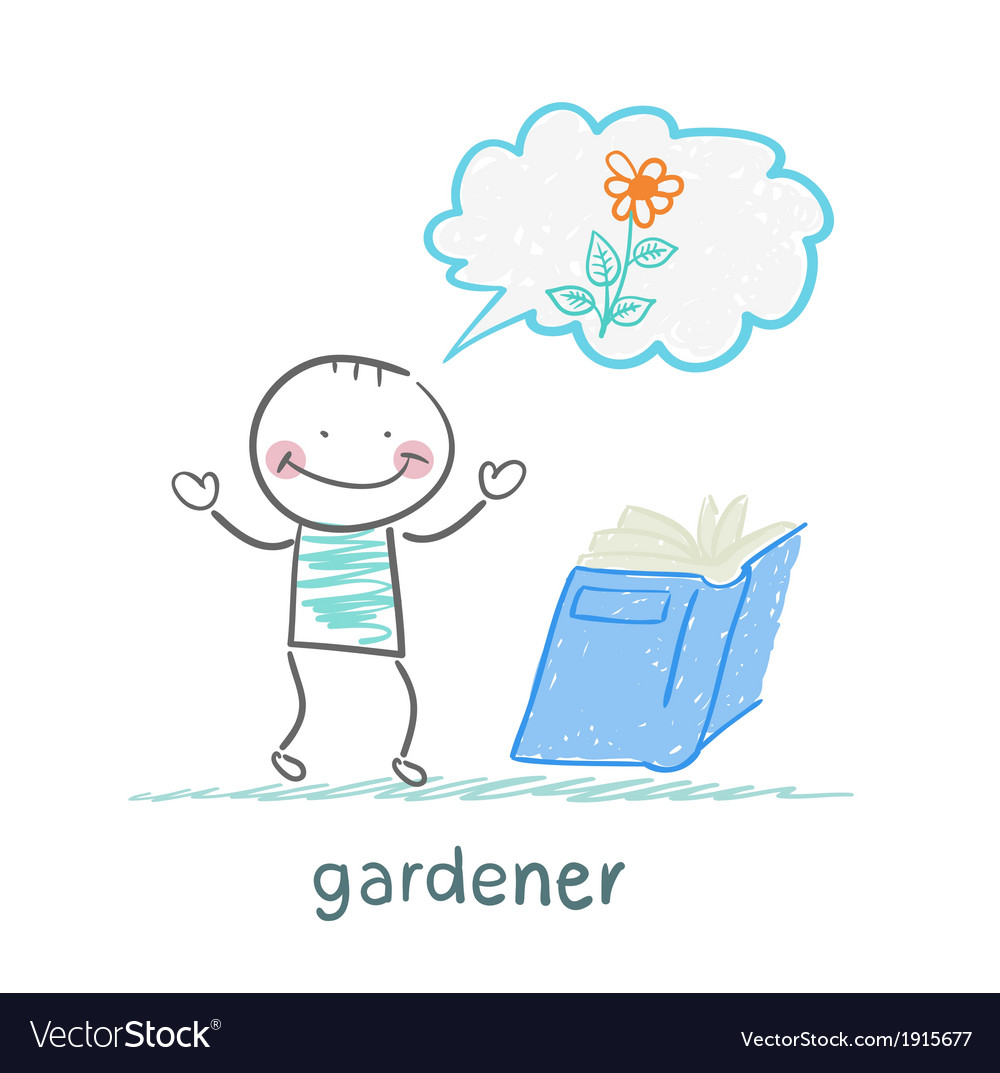 Gardener reading about colors vector
