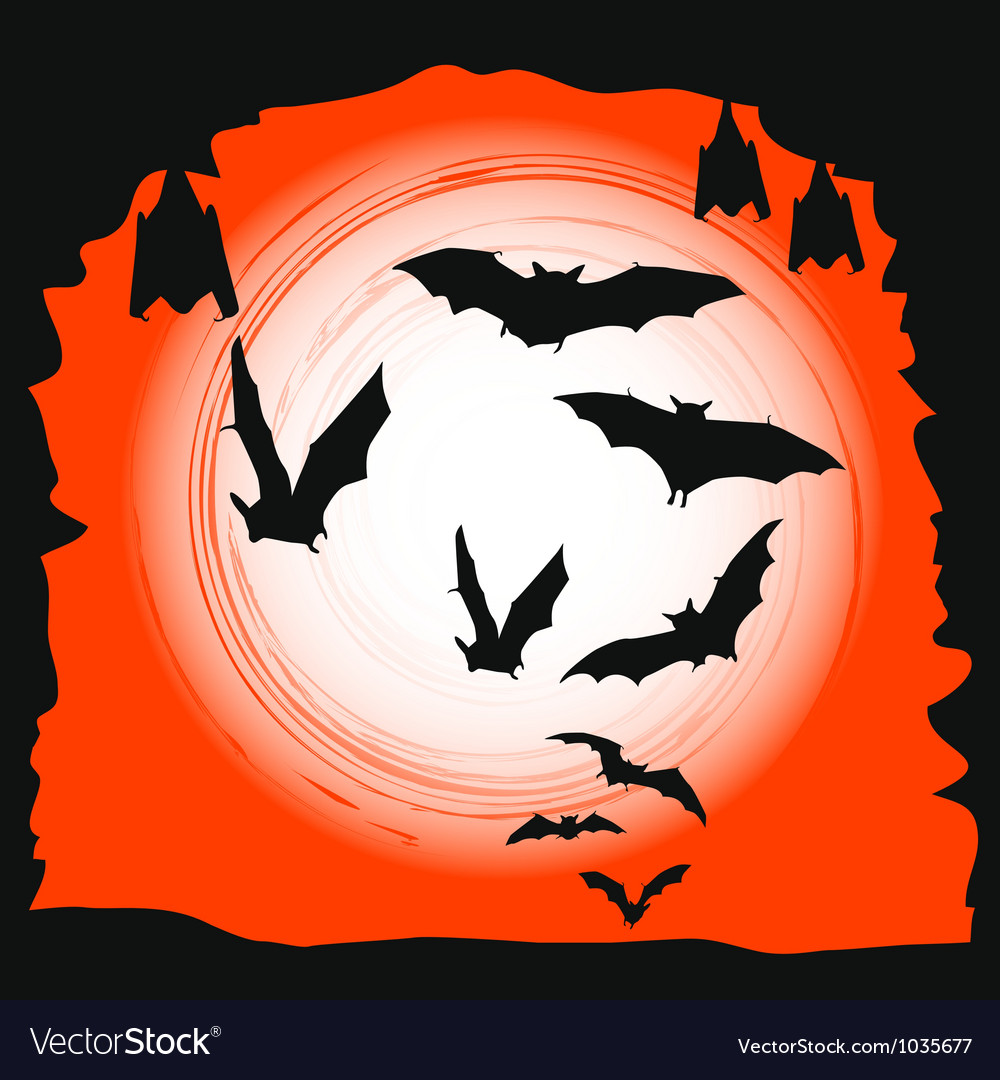 Halloween background - flying bats in full moon vector | Price: 1 Credit (USD $1)
