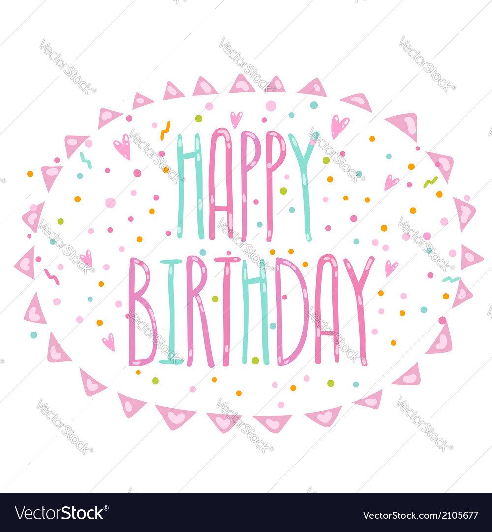 Happy birthday cute cartoon text with confetti vector | Price: 1 Credit (USD $1)