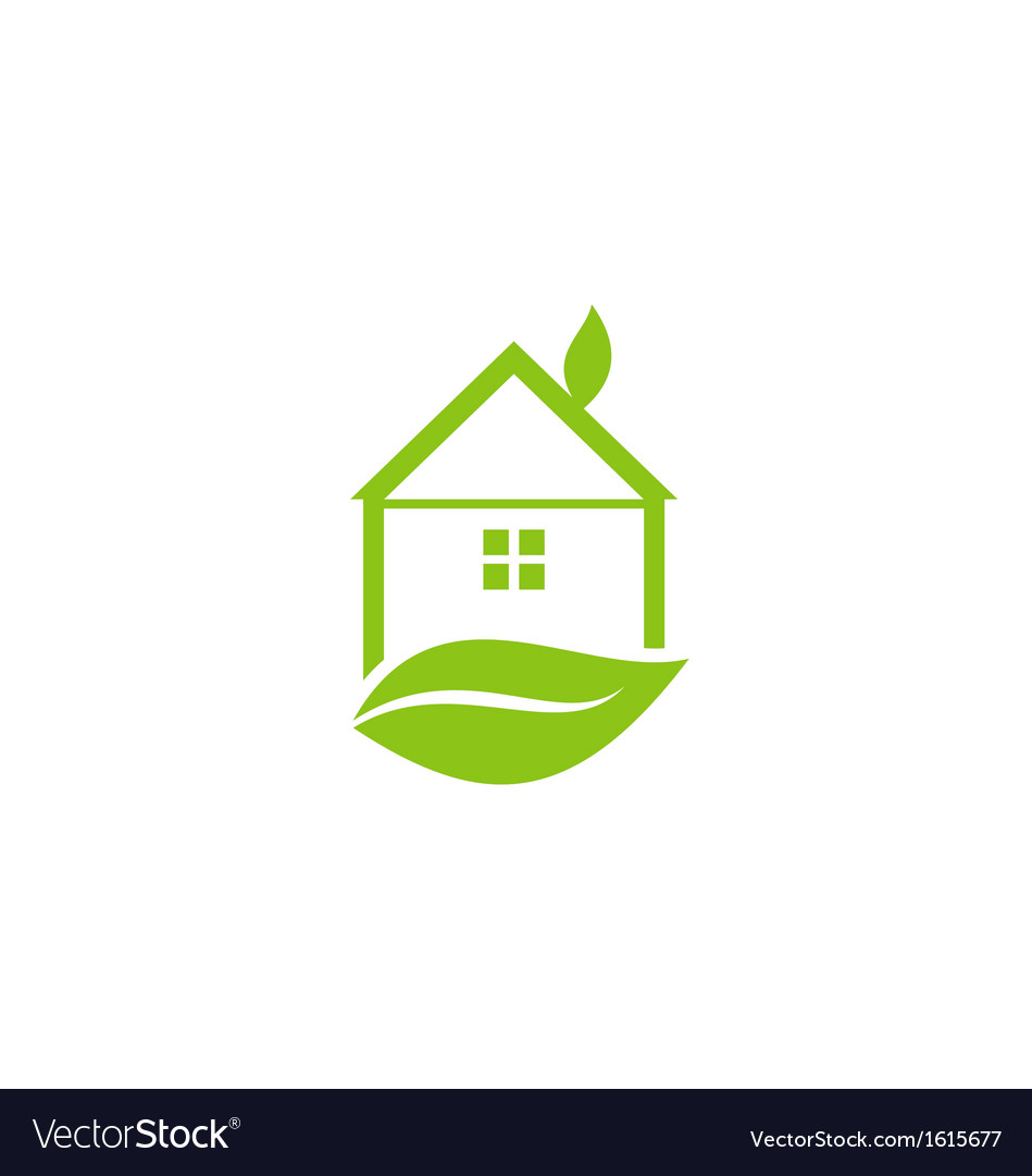 Icon green house with leaf of logo style vector | Price: 1 Credit (USD $1)