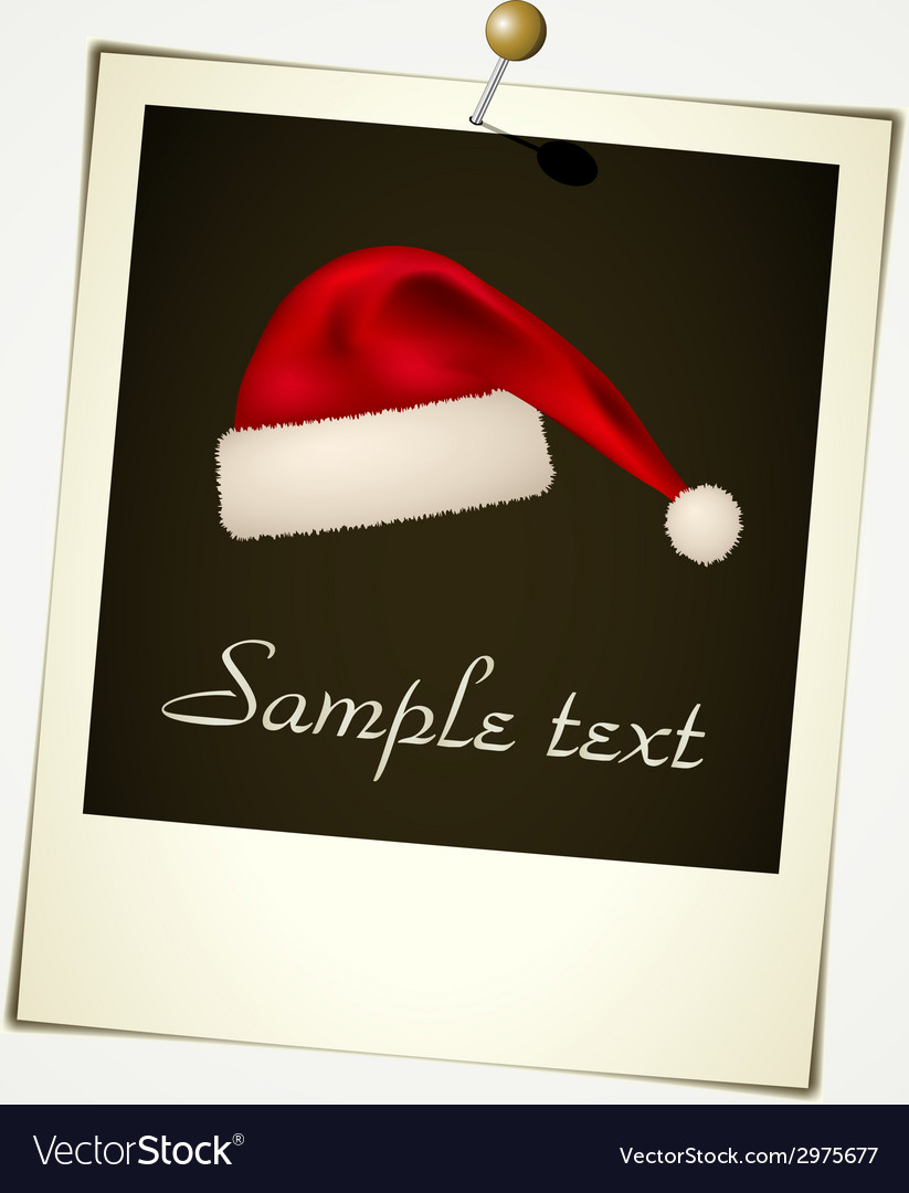 Instant photo with christmas hat vector | Price: 1 Credit (USD $1)