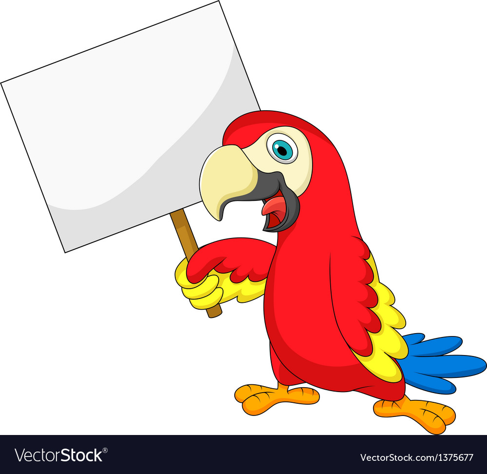 Macaw bird cartoon with blank sign vector | Price: 1 Credit (USD $1)