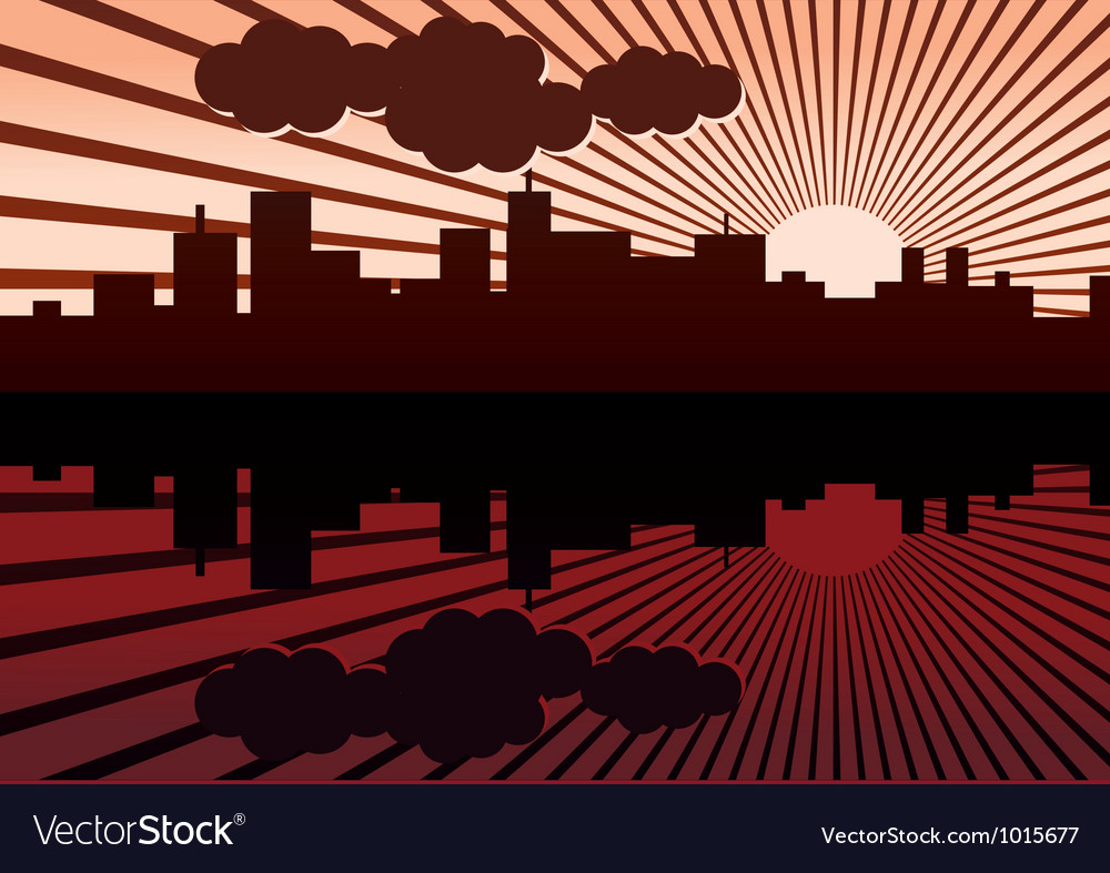 Morning city landscape vector | Price: 1 Credit (USD $1)