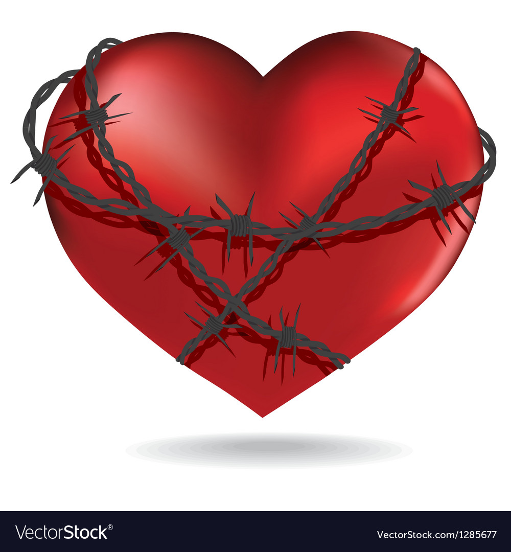 Red heart with barbed metal wire vector | Price: 3 Credit (USD $3)
