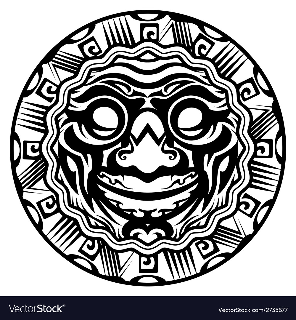 Round smiling face polynesian tattoo vector | Price: 1 Credit (USD $1)