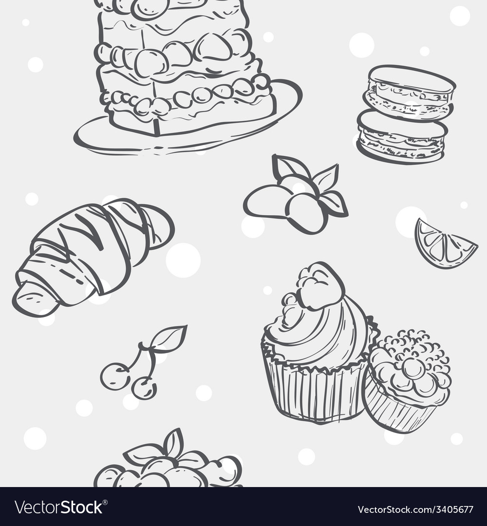 Seamless texture with different baking croissants vector | Price: 1 Credit (USD $1)