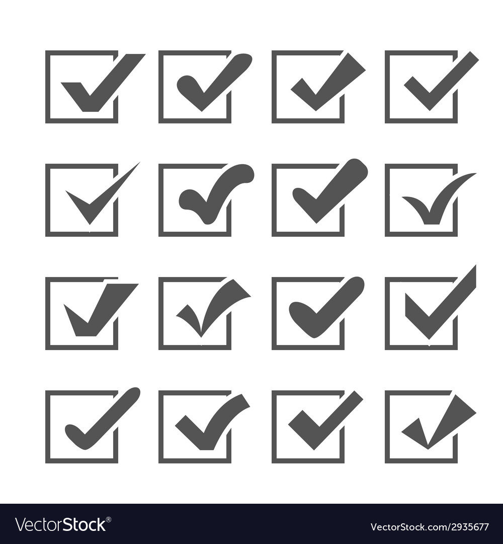 Set of different check marks or ticks in boxes vector | Price: 1 Credit (USD $1)