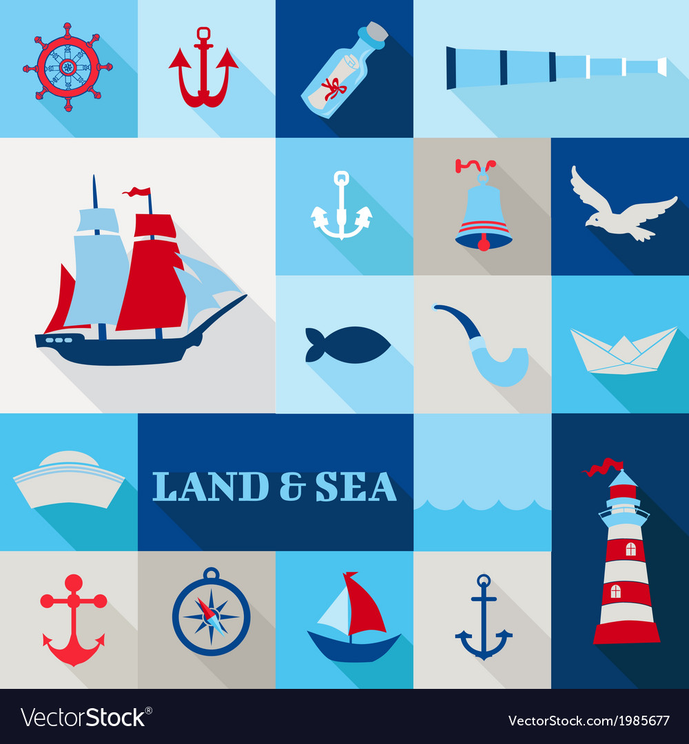 Set of nautical vintage elements vector | Price: 1 Credit (USD $1)