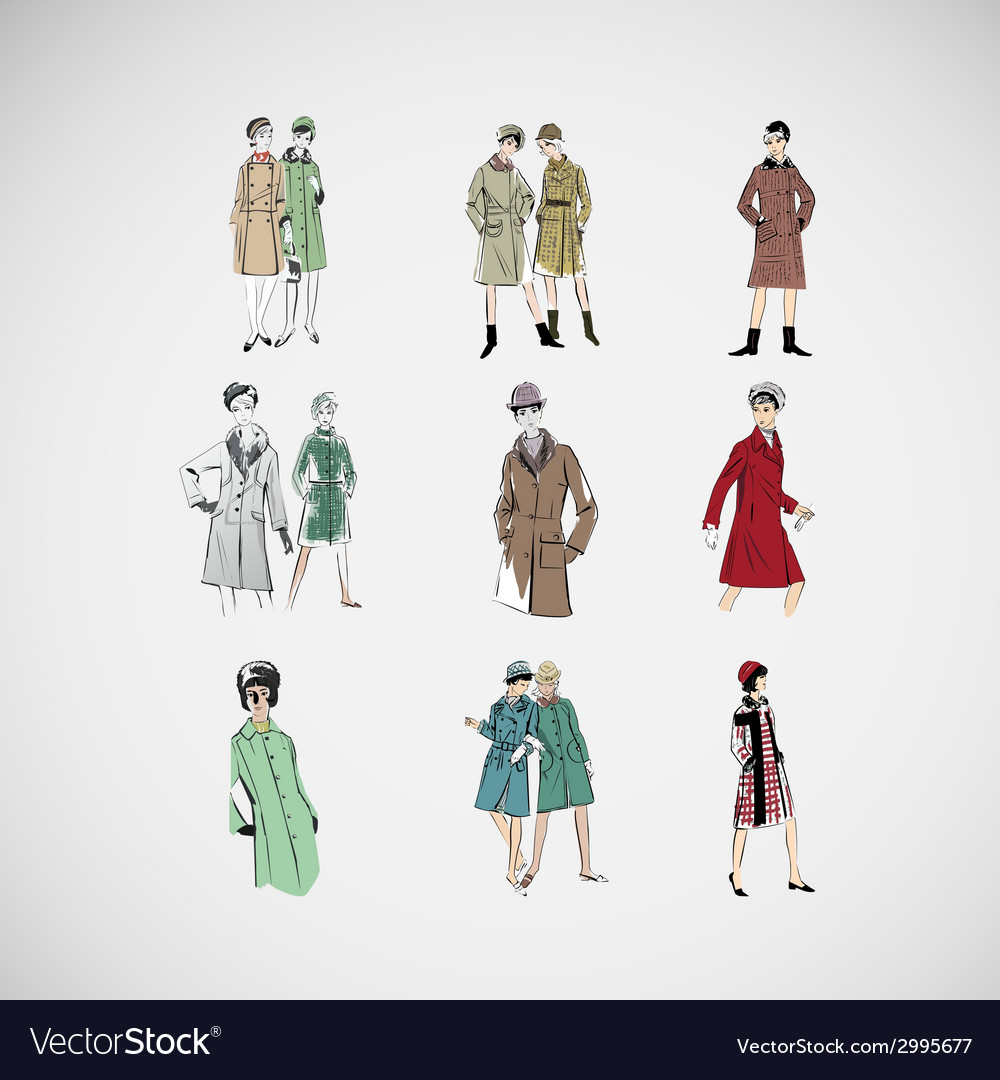 Sketch girls in fashion clothes eps vector | Price: 1 Credit (USD $1)