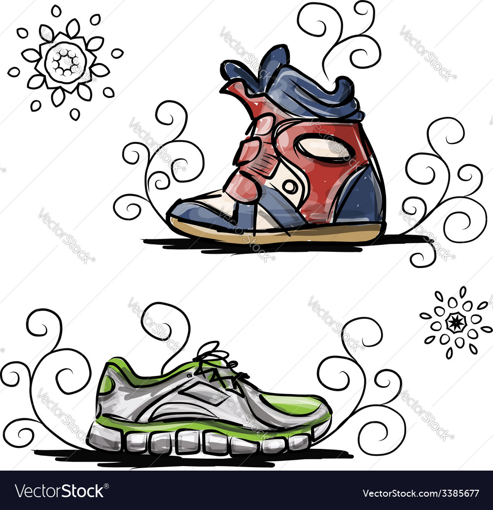 Sneakers sketch for your design vector | Price: 1 Credit (USD $1)