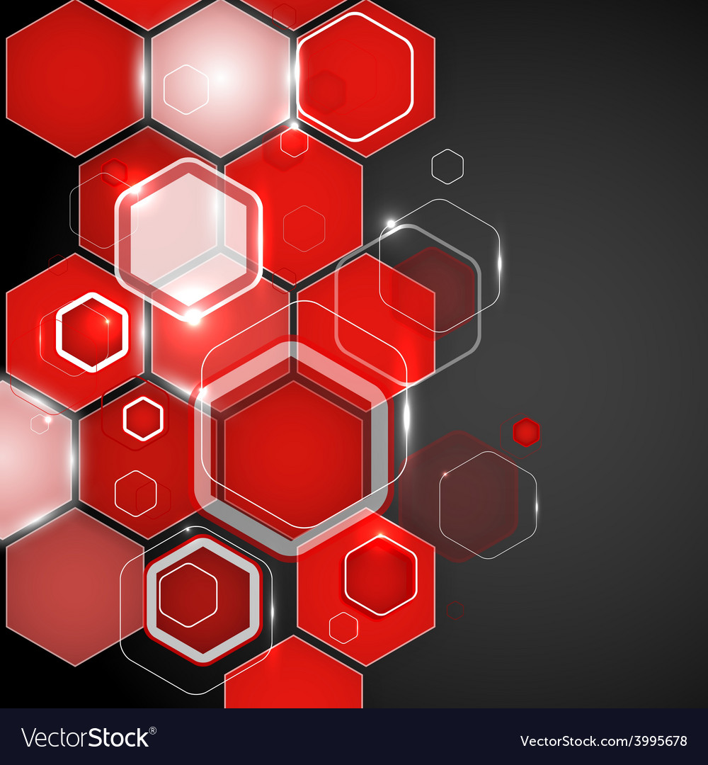 Abstract red background hexagon vector | Price: 1 Credit (USD $1)
