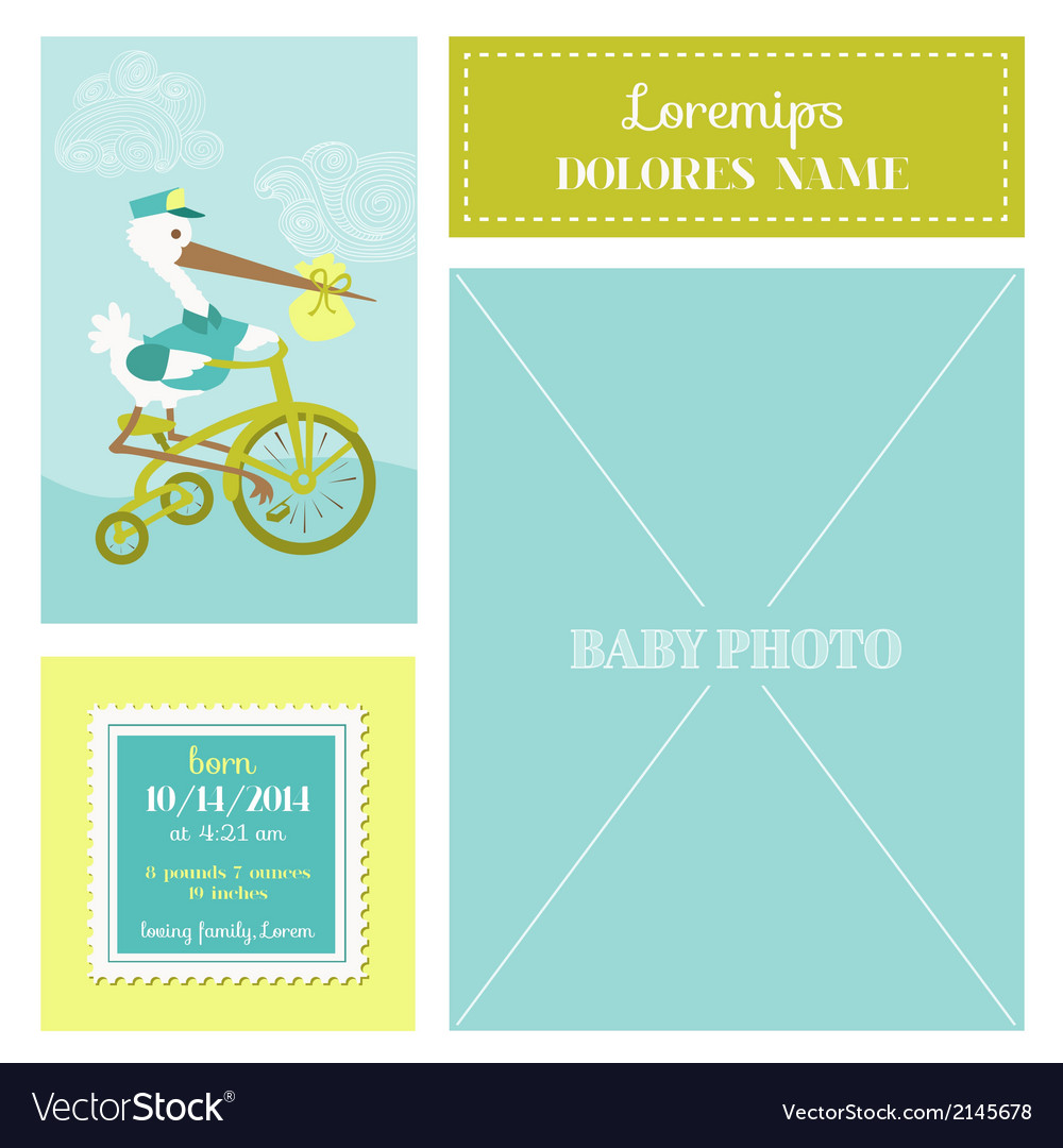 Baby arrival card - with stork and photo frame vector | Price: 1 Credit (USD $1)