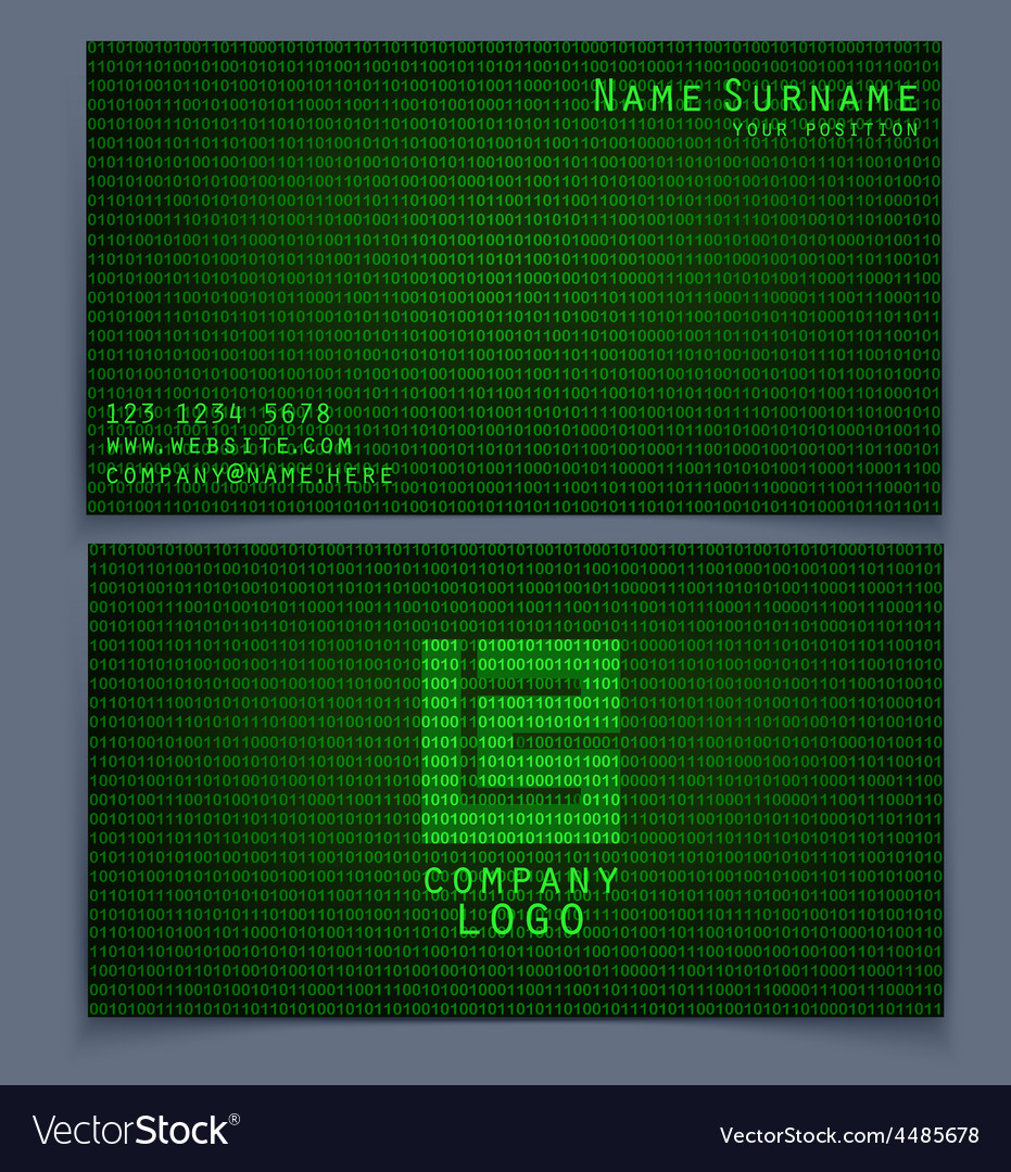 Business card binary code vector | Price: 1 Credit (USD $1)