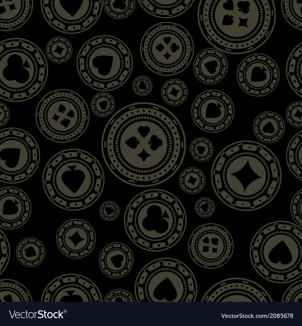 Dark casino chips pattern vector