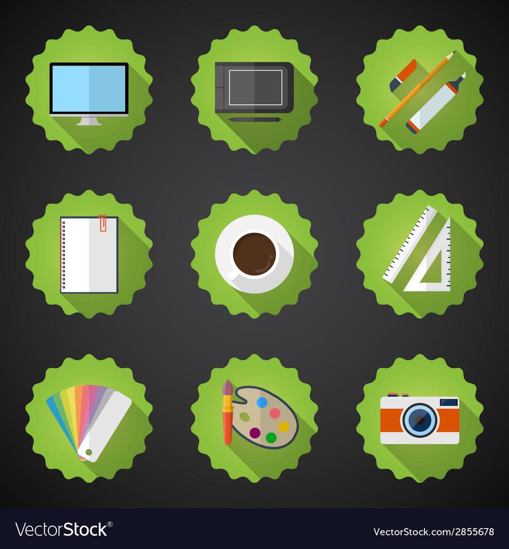 Designers stuff flat icon set include desktop vector | Price: 1 Credit (USD $1)