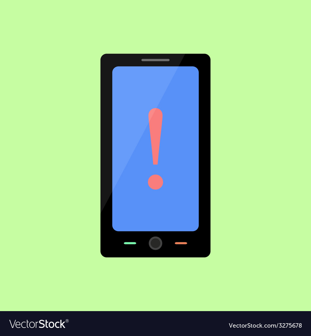 Flat style smart phone with warning sign vector | Price: 1 Credit (USD $1)