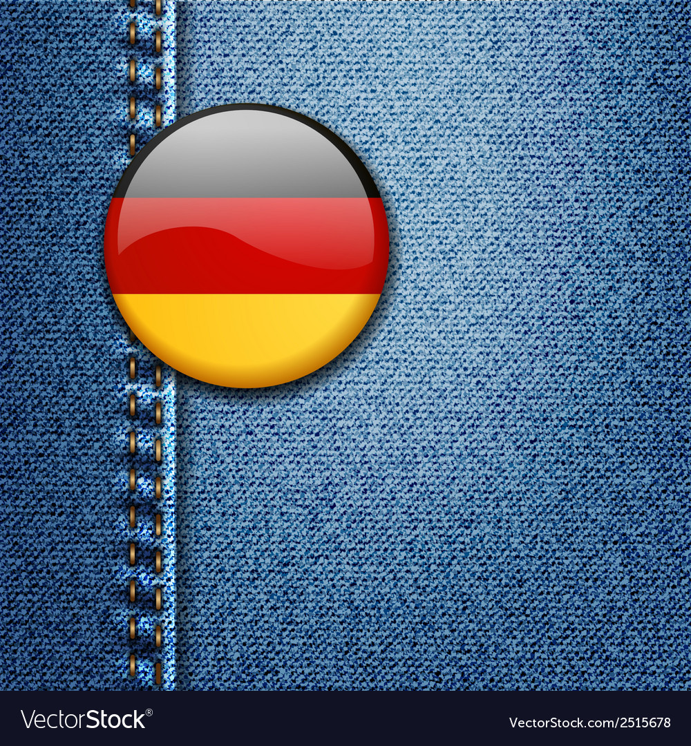 Germany bright colorful badge on denim fabric text vector | Price: 1 Credit (USD $1)