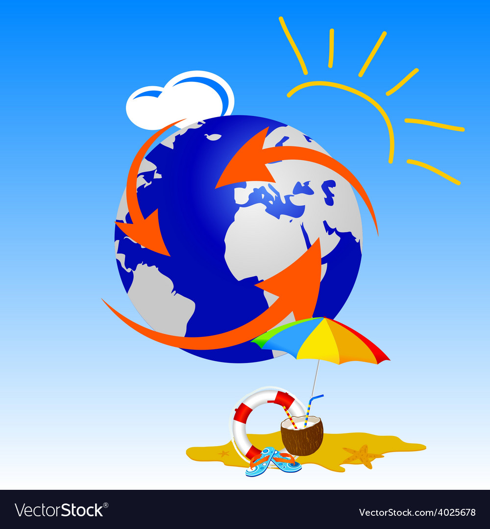Globe with summer stuff vector | Price: 1 Credit (USD $1)