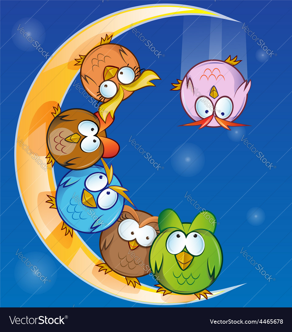 Owl group cartoon on moon vector | Price: 1 Credit (USD $1)