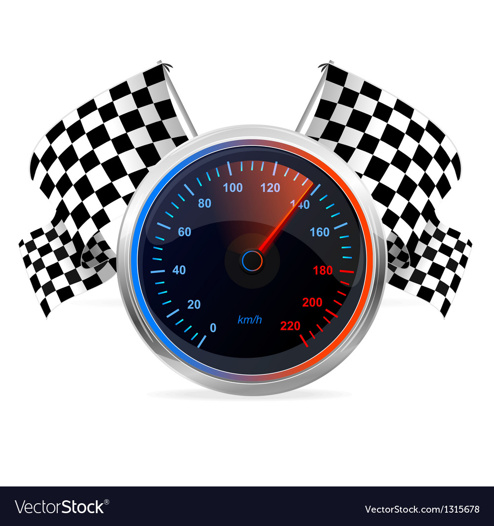 Racing speedometer and checkered flags vector | Price: 3 Credit (USD $3)