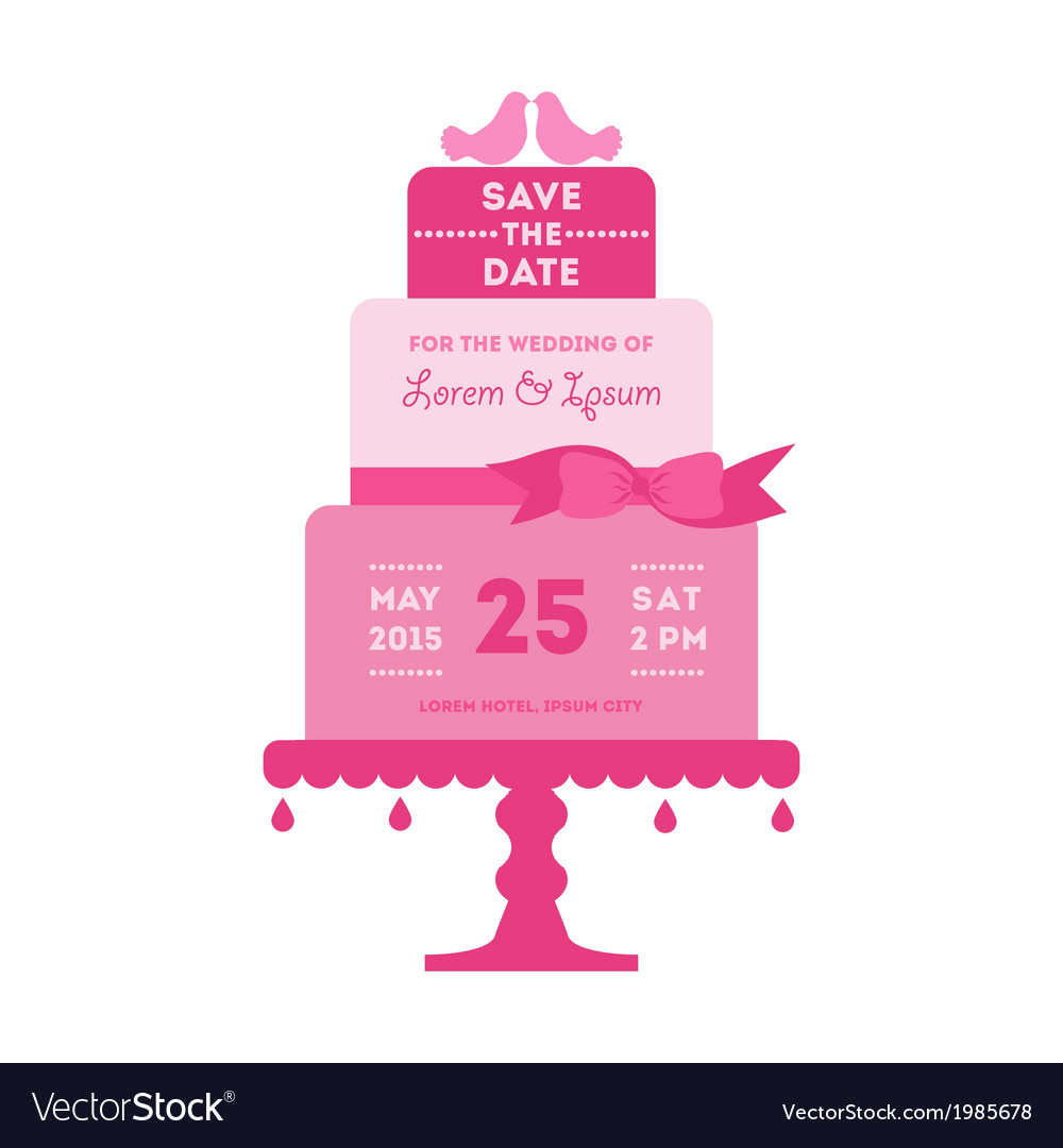 Save the date - wedding card with cake vector | Price: 1 Credit (USD $1)