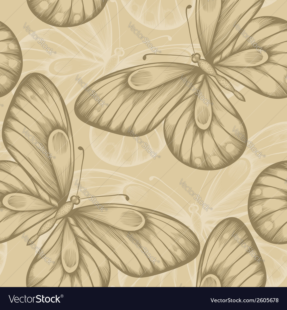 Seamless background with brown butterflies vector | Price: 1 Credit (USD $1)
