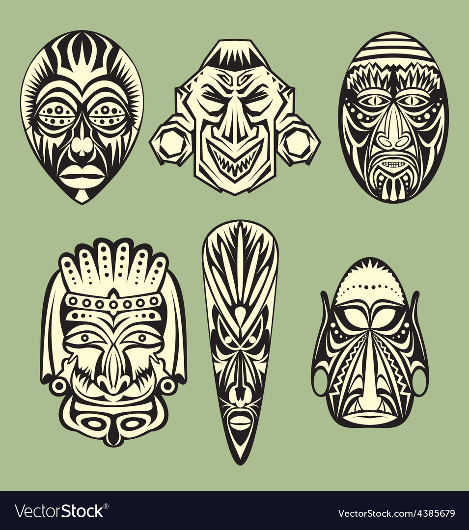 African masks vector | Price: 1 Credit (USD $1)