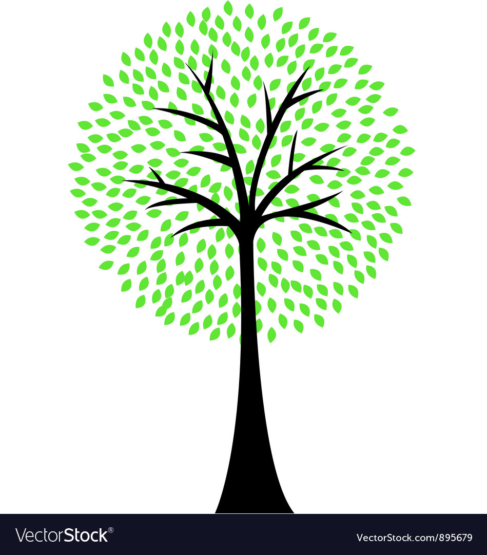Art tree silhouette isolated on white background vector | Price: 1 Credit (USD $1)