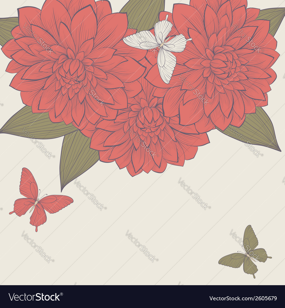 Background with frame of dahlia flowers vector | Price: 1 Credit (USD $1)