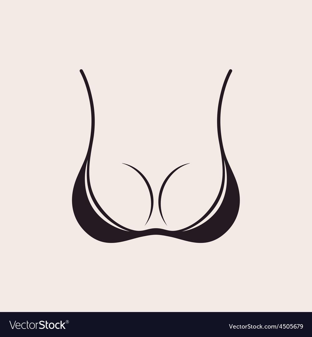 Bra icon sexy logo simple emblem slim figure vector | Price: 1 Credit (USD $1)