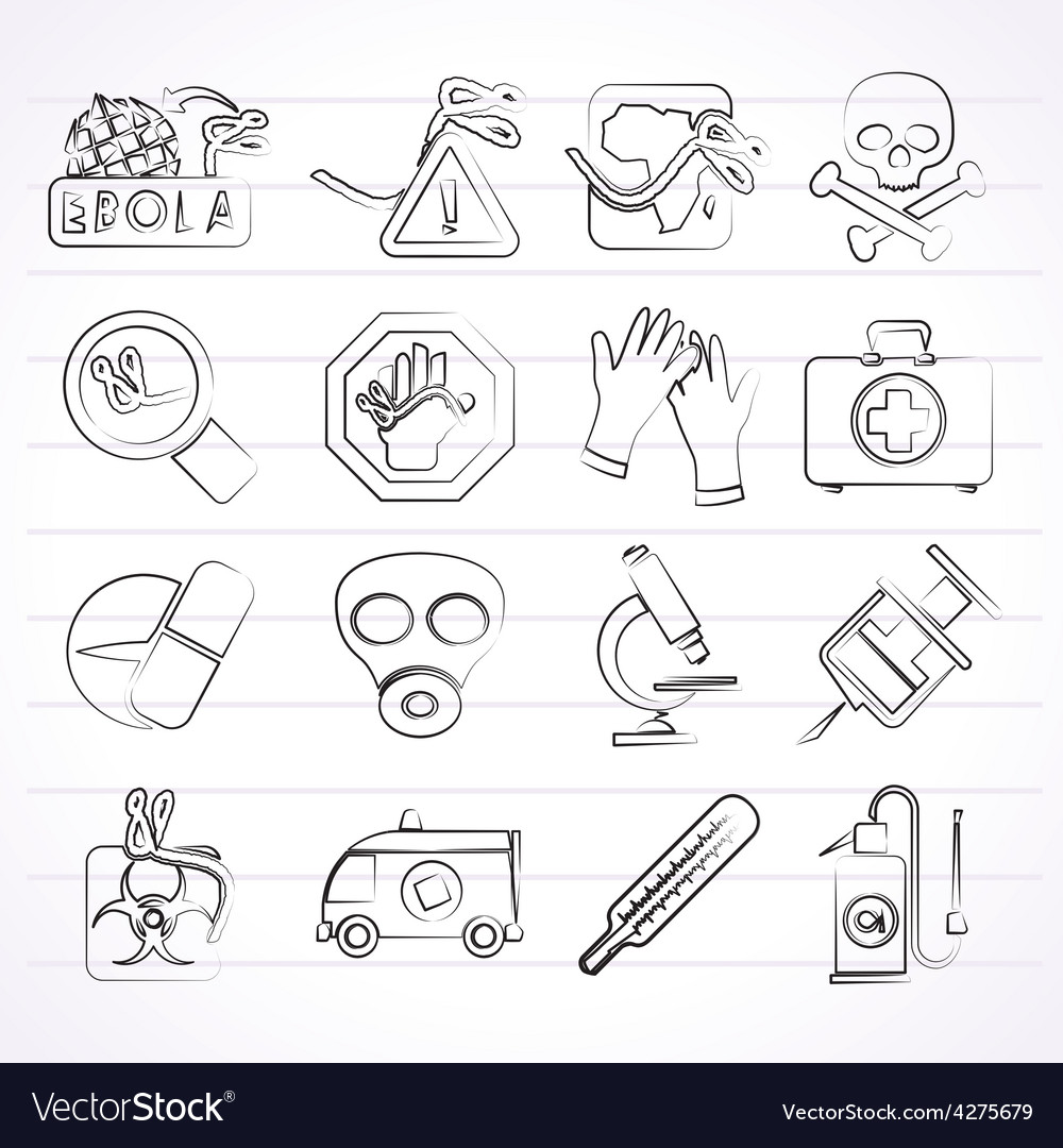 Ebola pandemic icons vector | Price: 1 Credit (USD $1)