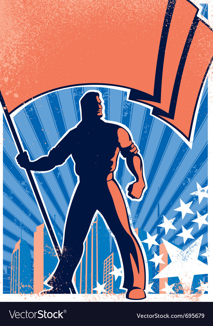Flag bearer poster 2 vector | Price: 1 Credit (USD $1)