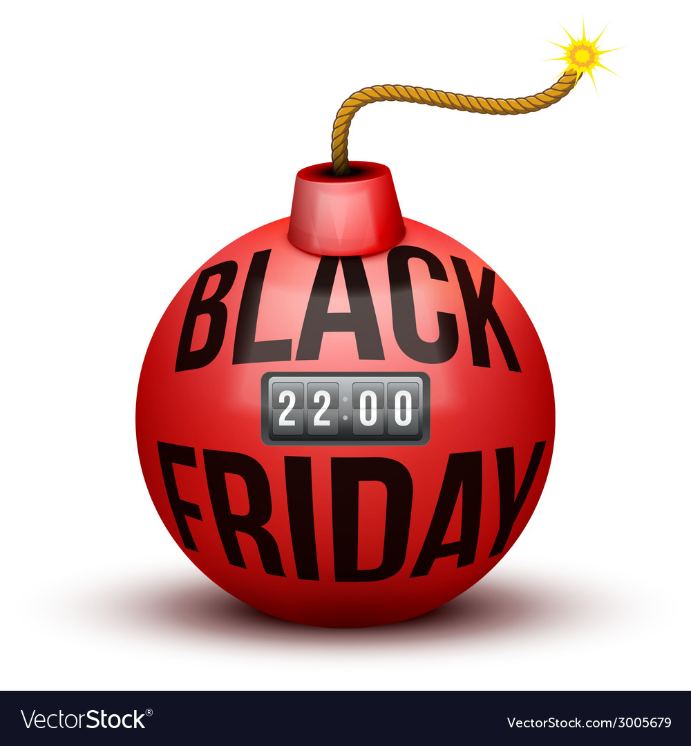 Red bomb about to blast with black friday sales vector | Price: 1 Credit (USD $1)