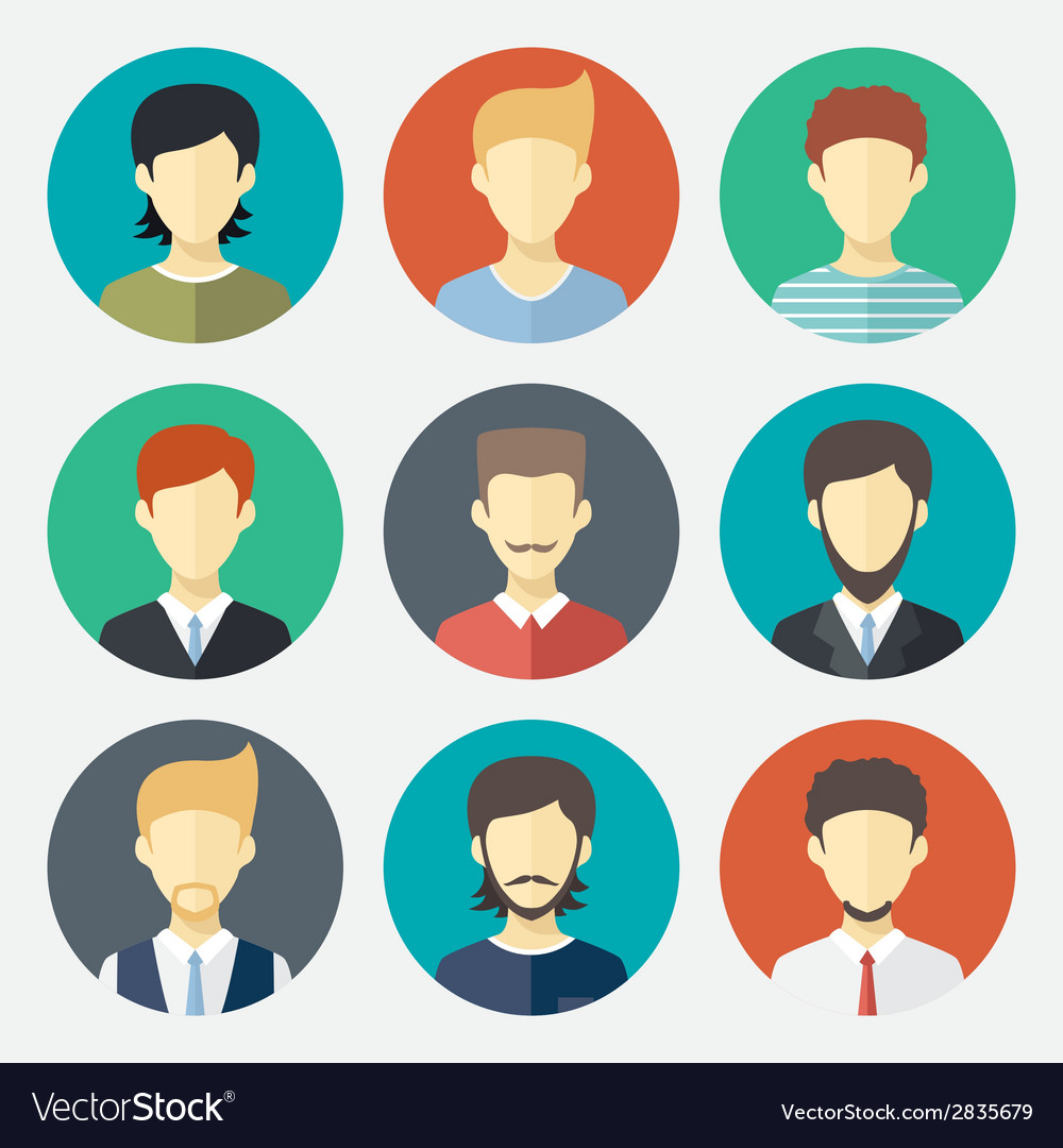 Set of man avatar flat design icons vector