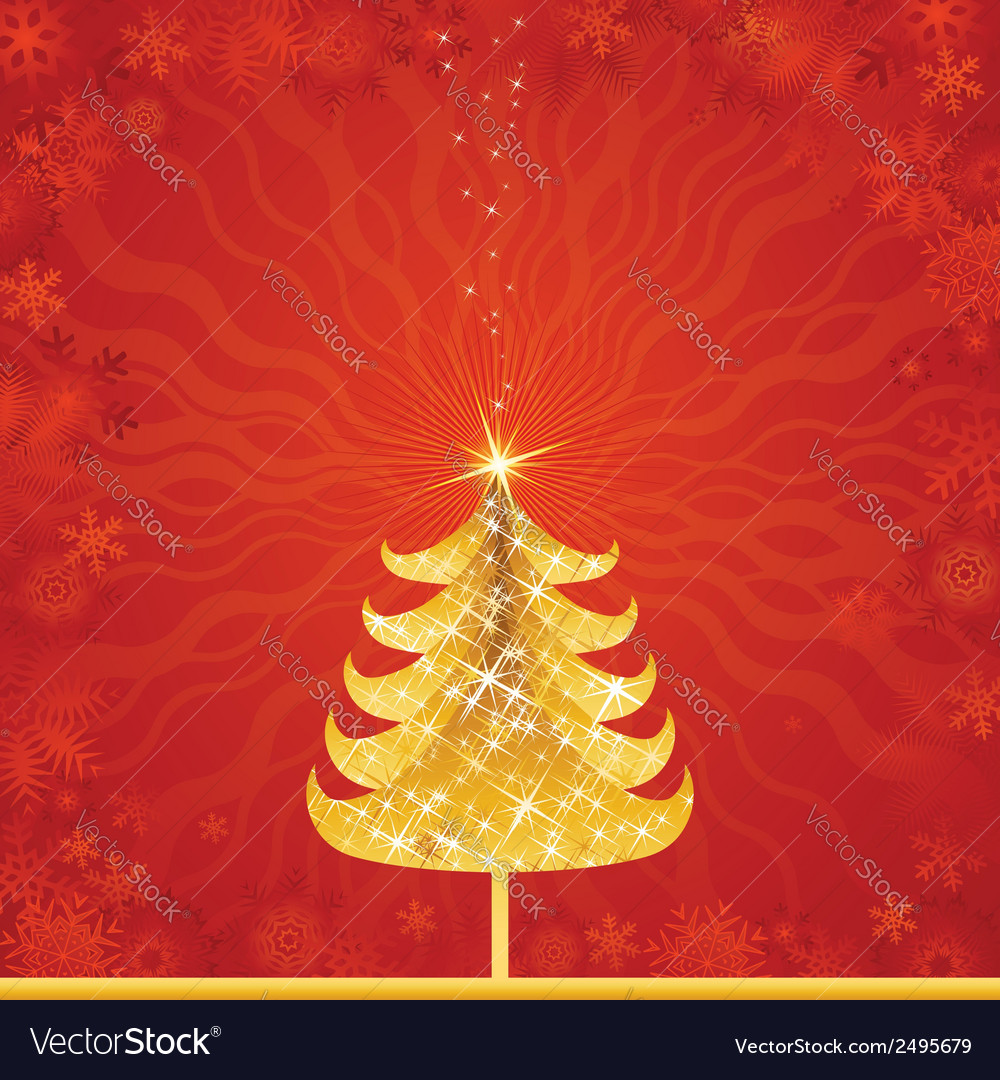 Shining golden christmas tree vector | Price: 1 Credit (USD $1)