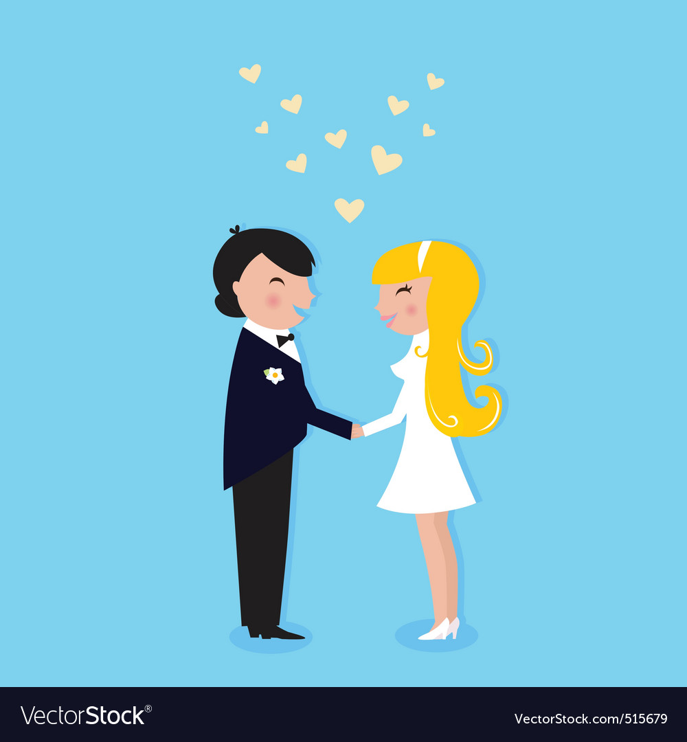 Wedding cute bride and groom vector | Price: 1 Credit (USD $1)