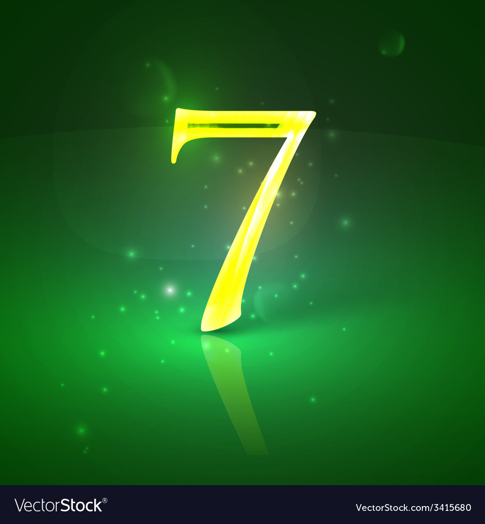 7 green glowing number seven vector | Price: 1 Credit (USD $1)