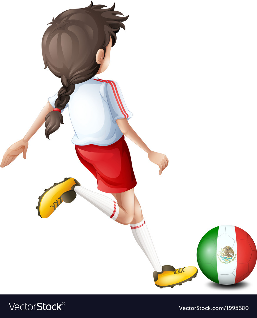 A player using the ball with the flag of mexico vector | Price: 1 Credit (USD $1)