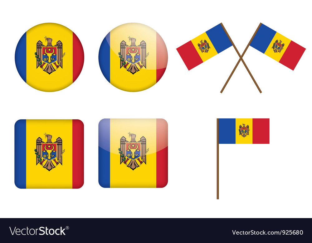 Badges with flag of moldova vector   Price: 1 Credit (USD $1)