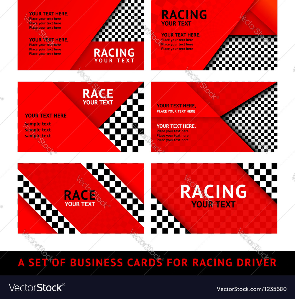 Business card driver race - second set vector | Price: 1 Credit (USD $1)