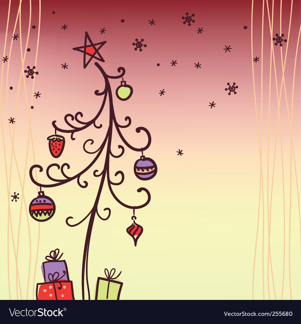 Christmas card with tree vector | Price: 1 Credit (USD $1)