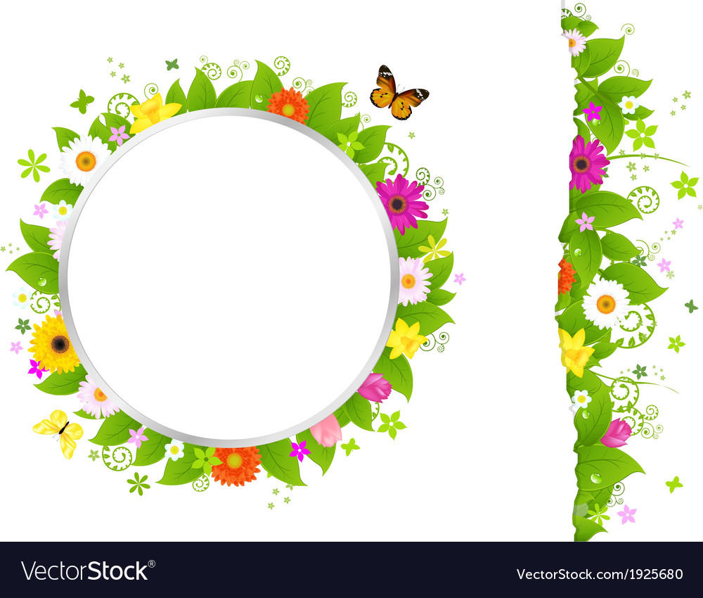 Circle and border from flowers vector | Price: 1 Credit (USD $1)