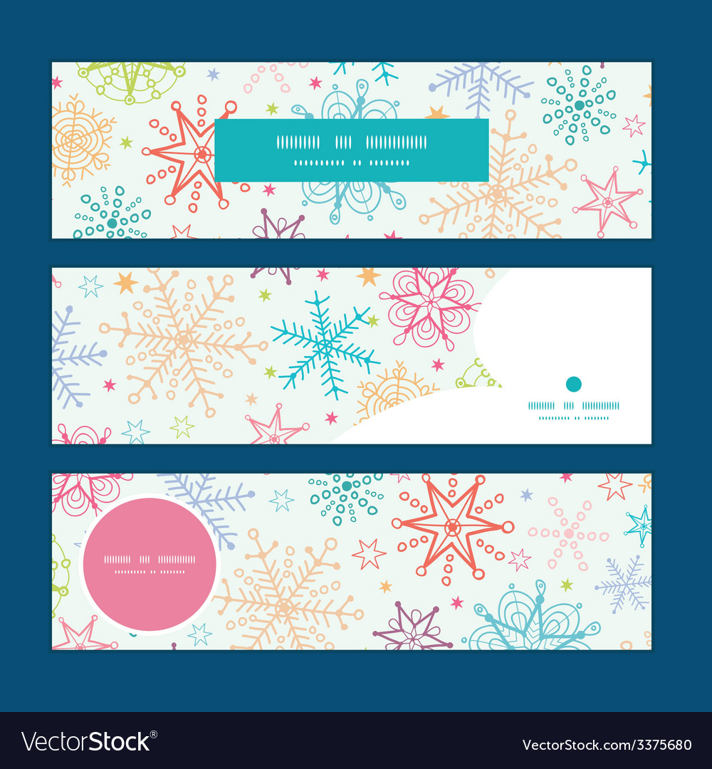 Colorful doodle snowflakes horizontal banners set vector | Price: 1 Credit (USD $1)