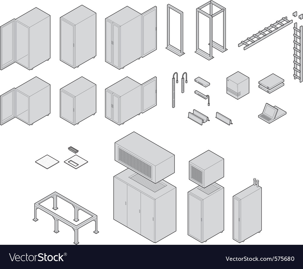 Data center equipment vector | Price: 1 Credit (USD $1)
