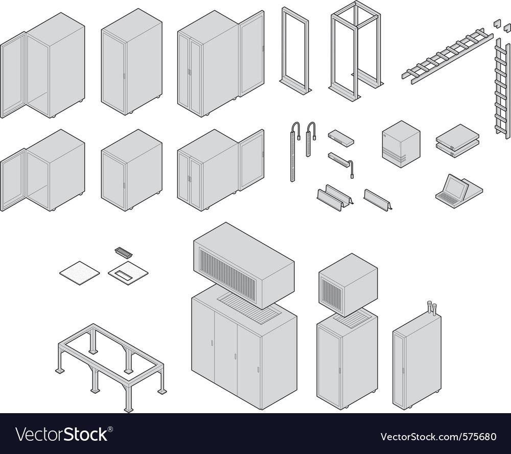 Data center equipment vector | Price: 1 Credit (USD $1)