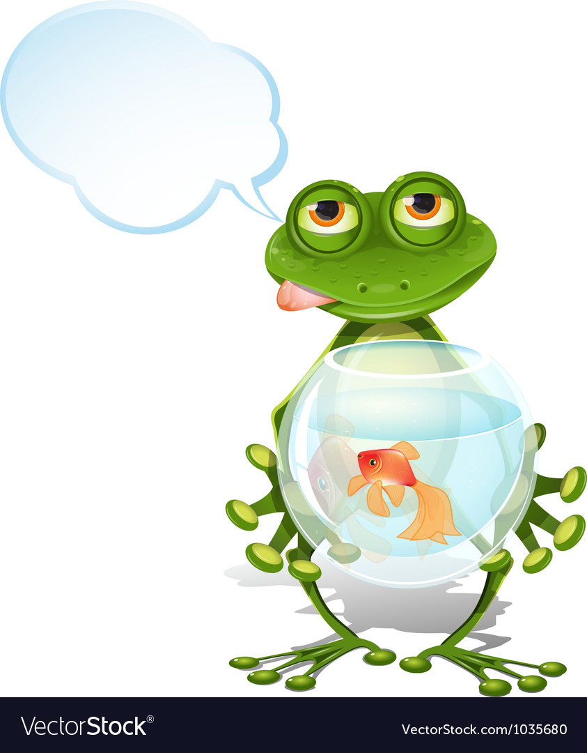 Frog and a goldfish vector   Price: 3 Credit (USD $3)