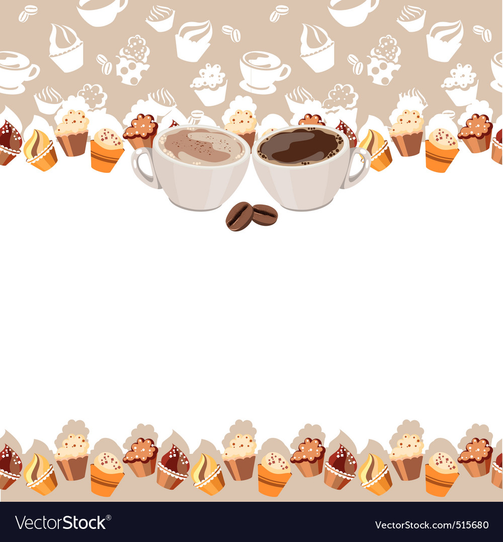 Greeting card with cups of coffee vector | Price: 1 Credit (USD $1)