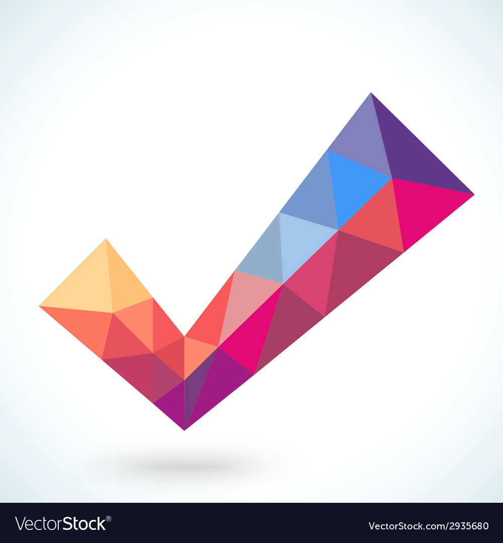 Polygonal crystal check mark or tick with shadow vector | Price: 1 Credit (USD $1)